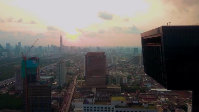 Aerial Shot Bangkok city at dusk