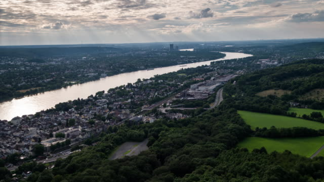 Aerial shot Bonn and Rhine river, Germany