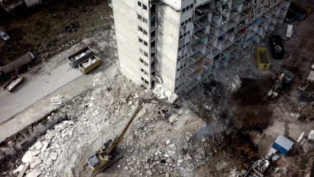 Aerial shot Building Demolition