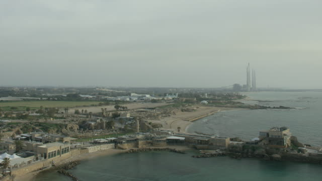 aerial shot, caesarea amphitheater and national park - caesarea stock videos & royalty-free footage