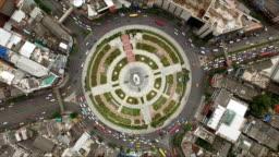 Aerial shot circle street