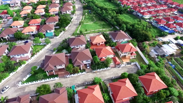 Aerial Shot Community in Thailand:Point of Interest