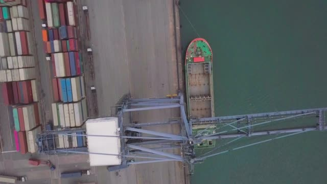 aerial shot container ship in port - commercial land vehicle stock videos & royalty-free footage