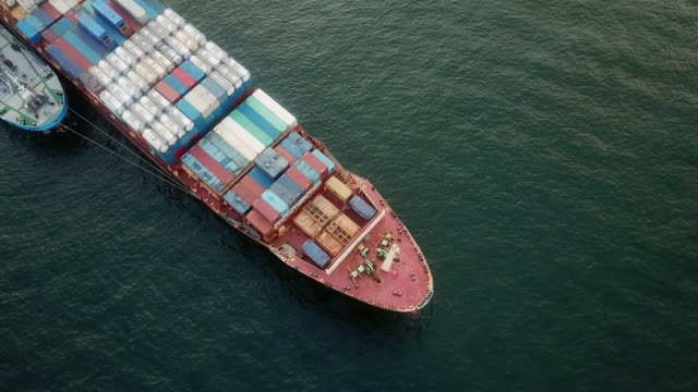 aerial shot container ship - commercial land vehicle stock videos & royalty-free footage
