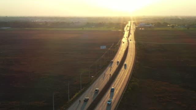 aerial shot country highway - motorway stock videos & royalty-free footage