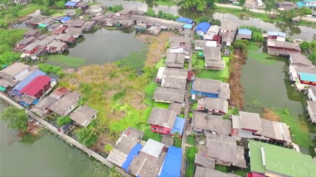 Luchtfoto Shot platteland op water