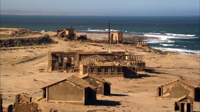 Aerial shot destroyed ruins in Lüderitz (Africa)