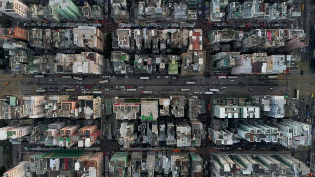 aerial shot directly above an area of cham shui po, kowloon, hong kong - hong kong stock videos & royalty-free footage