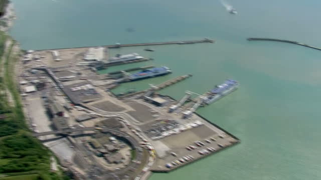 aerial shot dover ferry port on august 05 2016 in dover england - english channel stock videos & royalty-free footage