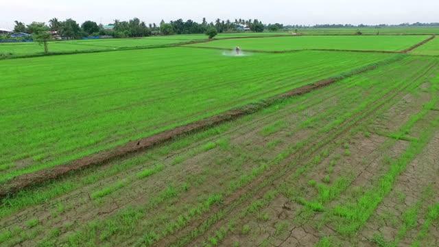 空から見た風景:農家吹きかける農薬 - 殺虫剤点の映像素材/bロール