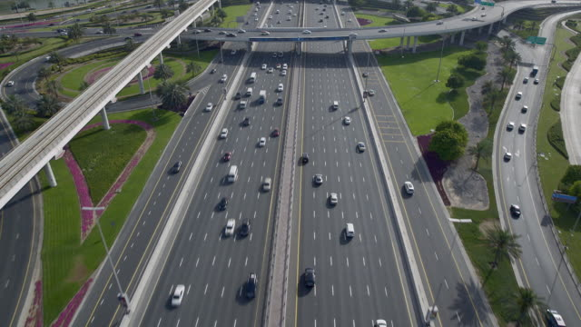 Aerial shot flying over a freeway in the city of Dubai, United Arab Emirates.