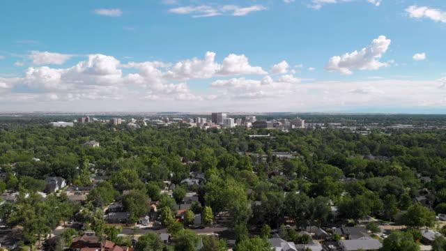 aerial shot flying toward downtown city - idaho stock videos & royalty-free footage