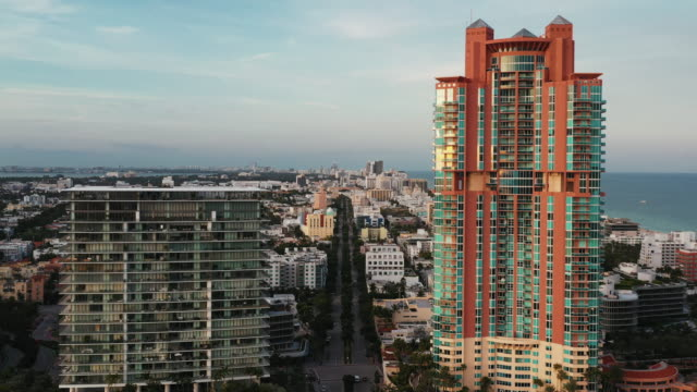 aerial shot flying towards buildings, miami, florida, united states of america - miami stock videos & royalty-free footage