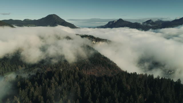 aerial shot flying towards low level clouds surrounding the mountains, austria - austria stock videos & royalty-free footage