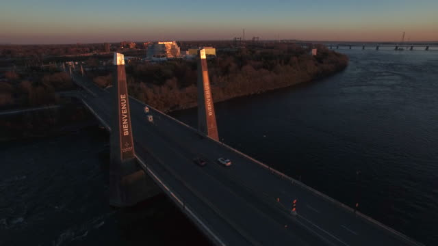 aerial shot from bridge leading to montreal casino - quebec stock videos and b-roll footage