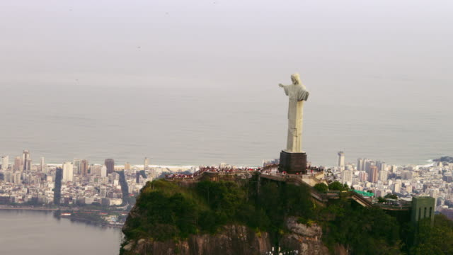 Aerial shot from copter of famous statue of Christ.