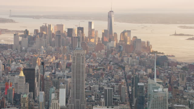 Aerial shot from midtown Manhattan looking south at sunset