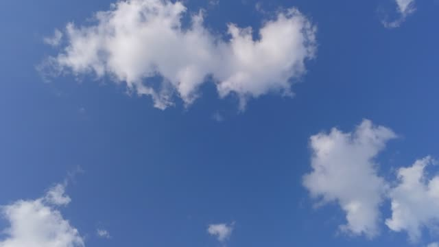 aerial shot - greek blue sky with small white clouds