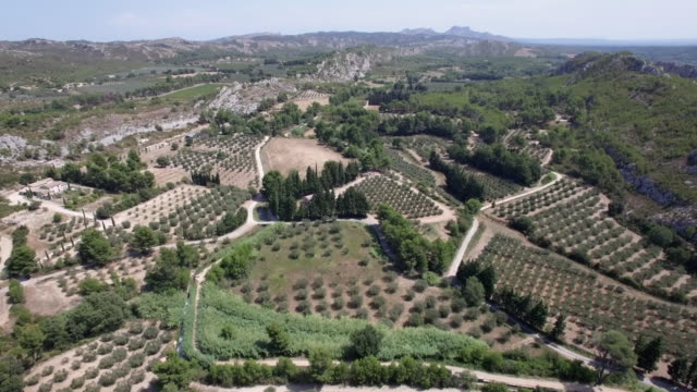 Aerial shot high flight over Provence landscape