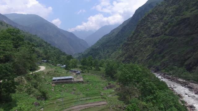 Aerial shot, Himalayas mountain range in Nepal
