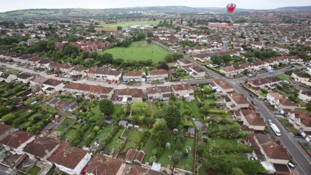Aerial Shot Hot air balloons take to the sky over Bristol as they launch from Greville Smythe Park close to the city centre on August 6 2013 in...