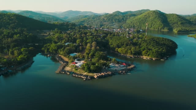 aerial shot : houseboat on the lake at loei province, thailand - realisticfilm stock videos and b-roll footage