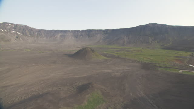 aerial shot in caldera approaching cone of volcano, alaska, september 2010 - caldera stock videos and b-roll footage