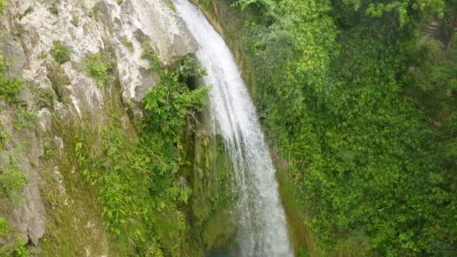 aerial shot inambakan waterfalls, cebu, philippines - philippines stock videos & royalty-free footage