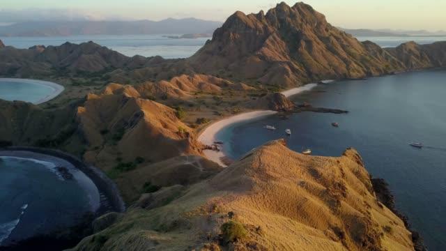 aerial shot: landscape of padar island,komodo national park, indonesia. - komodo island stock videos & royalty-free footage