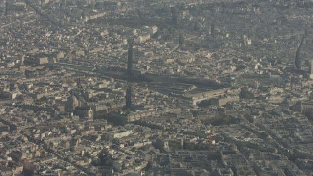 aerial shot looking at train station gare saint-lazare in paris france, daytime - railway station stock videos & royalty-free footage