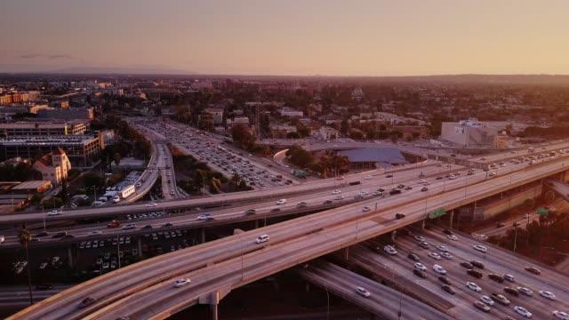 Aerial Shot of 10/110 Interchange, Los Angeles at Sunset