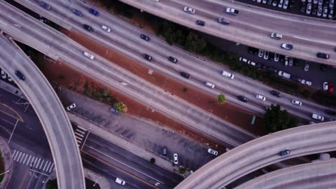 aerial shot of 10/110 interchange, los angeles at sunset - twilight stock videos & royalty-free footage