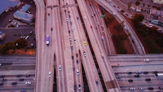 Aerial Shot of 10/110 Interchange, Los Angeles at Sunset