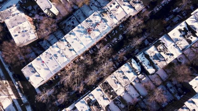Aerial shot of a Brooklyn winter