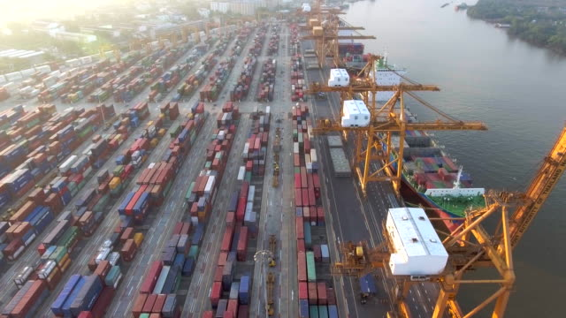 Aerial shot of a cargo container ship