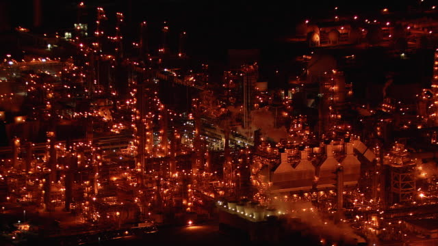 Aerial shot of a Carson, California oil refinery, at night.
