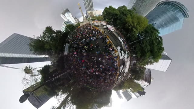 aerial shot of a celebration day in mexico city, modern skyline - 360 video stock videos & royalty-free footage