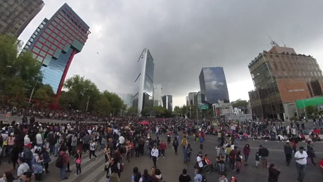 aerial shot of a celebration day in mexico city, modern skyline - city break stock videos & royalty-free footage