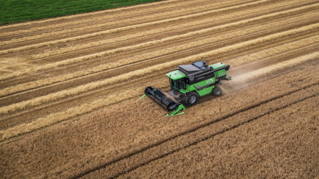 Aerial Shot Of A Combine Harvester