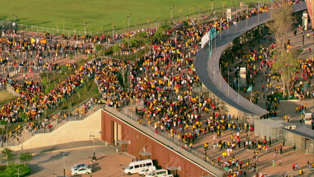 Aerial Shot Of A Crowd People Outside FNB Stadium Soccer City