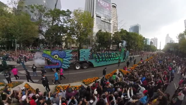 Aerial shot of a day of the dead parade
