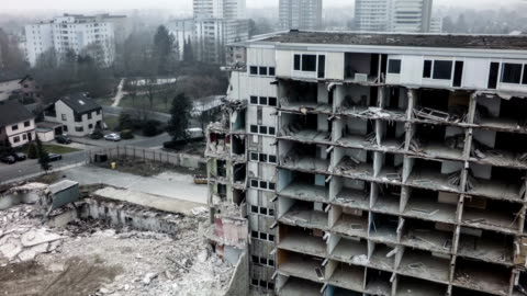 aerial shot of a destroyed building - ruined stock videos & royalty-free footage