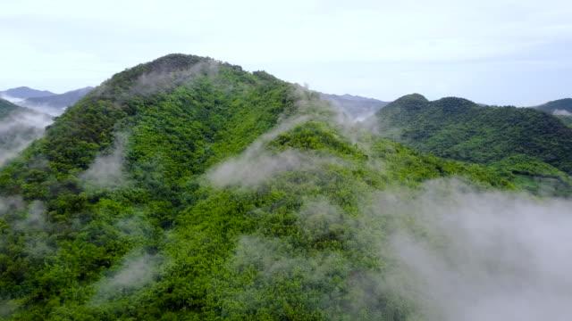 vídeos de stock, filmes e b-roll de 4k: aerial shot de um vale verde em suan phueng na tailândia - cordilheira