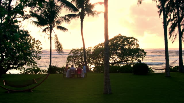 vidéos et rushes de aerial shot of a group of friends having dinner outside by the beach - turtle bay oahu