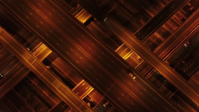 Aerial Shot of a Highway traffic at night