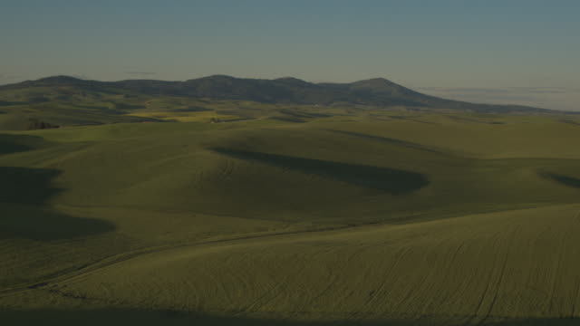 aerial shot of a landscape during daytime - palouse stock videos & royalty-free footage