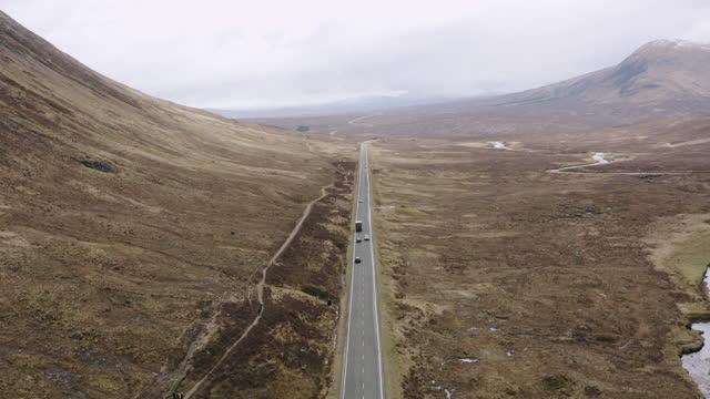 vídeos y material grabado en eventos de stock de toma aérea de un largo camino que pasa por páramos abiertos en las tierras altas escocesas - erial