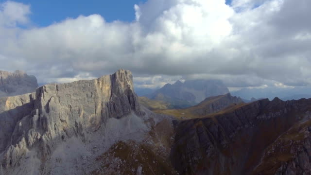 Aerial shot of a mountain Dolomites Italy