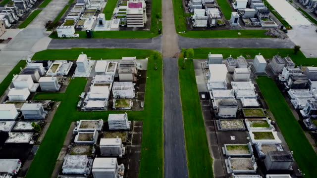 aerial shot of a new orleans cemetery - new orleans stock videos and b-roll footage
