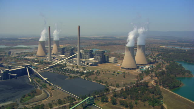 aerial shot of a power station in new south wales. - smoke physical structure stock videos & royalty-free footage